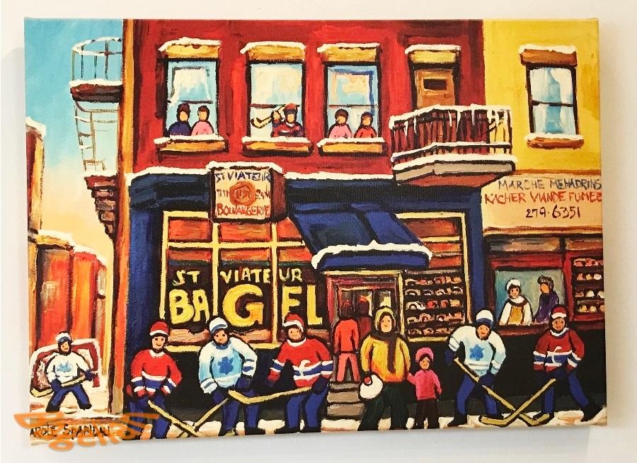 ポコベーグル店内に掲げられている絵。ベーグルショップの前で、アイスホッケーを楽しむ人々が描かれている。